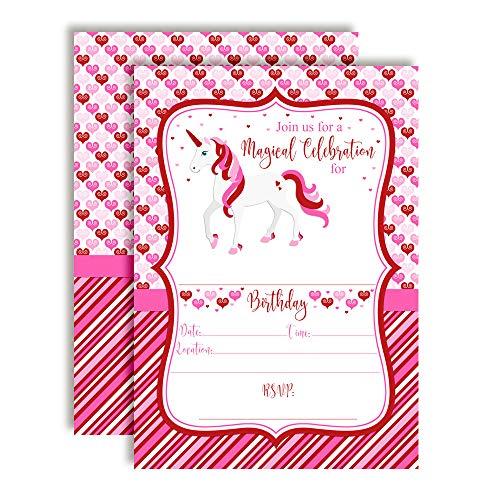 Magical Unicorn February Valentine Birthday Party Invitations, 20 5