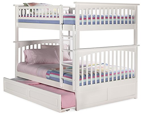 Price comparison product image Atlantic Furniture Columbia Bunk Bed with Trundle Bed,  Full Over Full,  White