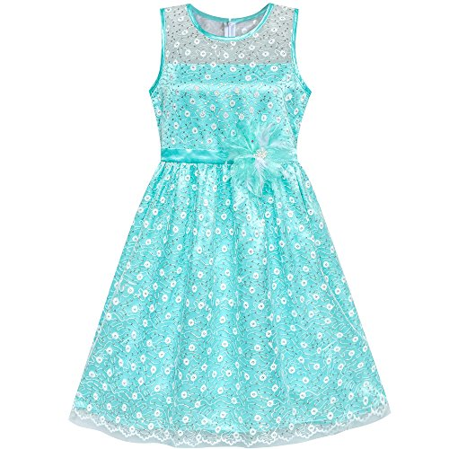 Sunny Fashion Flower Girl Dress Lace Sequin Flare Blue Wedding Party Size 8
