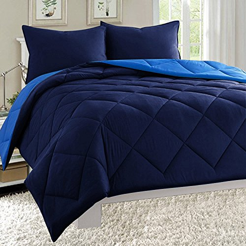 Elegant Comfort All Season Light Weight Down Alternative Reversible 3-Piece Comforter Set, Full/Queen, Navy Blue/Light Blue