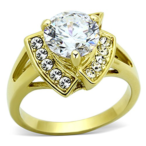 3.1 Ct Stunning Round Cut CZ Stainless Steel 14k GP Engagement Ring Size 9