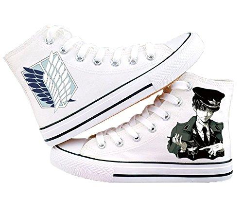 Attacco Su Titan Shingeki No Kyojin Levi Ackerman Scarpe Scarpe Sneakers Bianco / Nero Bianco 1