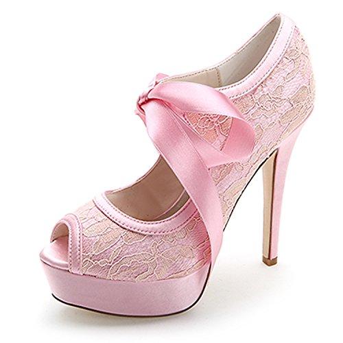Spitze Schuhe Ferse Schuhe Schuhe Plattform Satin Fashion High Schuhe Wasserdicht Feine Bankett Party Hochzeit Heels Qingchunhuangtang Elegante Band S0RnWE