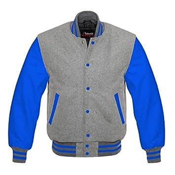 Fashion Club Pour homme Varsity Cuir véritable laine Letterman Veste Gris W bleu  Cuir 383dc21997b5