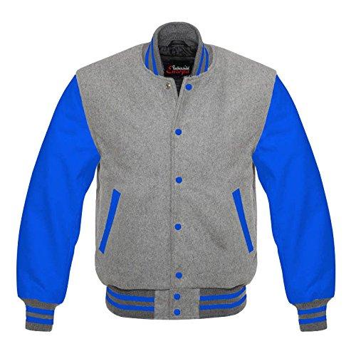 Men 's Varsity Realレザー/ウールLettermanジャケットグレーW /ブルーレザー袖Regular ) XL mx1_253176376922_D2 XL レギュラー B075Y5Q1NT