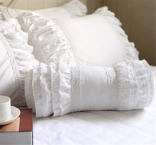 Pillow Rose Lace (Lotus Karen Korean Rose Floral Decorative Pillows White Lace Princess Girls Ruffles Cotton Roll Sofa Pillow Cute Candy Color Throw Pillow 1Pc)