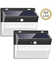 Luces solares al aire libre【206 LED / 3 Modos】, SEZAC Luces de seguridad solar Luces de sensor de movimiento solar Impermeable 65 Luces al aire libre para jardín Cerca de garaje (paquete de 2)