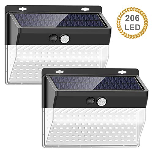 【206LED/3 Mode】Solar Lights Outdoor, SEZAC Solar Security Outdoor Lights 270° Wide Angle Lighting Solar Motion Sensor Lights Wireless Waterproof for Yard, Garage, Deck, Pathway, Porch (2 Pack)