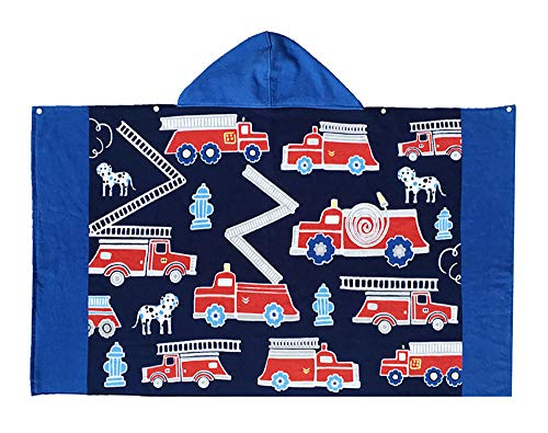 Echolife Kids Cartoon Fire Engines Hooded Beach Bath Towel Cotton Bathrobe for Boys Girls 7 to 12 Years Large Microfiber Ultra Soft Quick Dry Poncho Cape (Fire Engines)