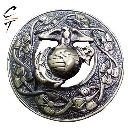 (CT Brand New Kilt Fly Plaid Brooch Antique Brass Scottish Thistle, Welsh Dragon, Irish Shamrock, US Marine, Stag Head (US MARINE))