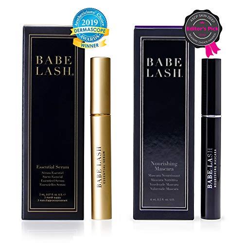 Babe Lash Eyelash Mascara with Eyelash Enhancer Serum for lush, healthier-looking lashes and brows - Dynamic Duo Bundle - Essential Serum (2ML) Used on Lash & Brow - Nourishing Mascara (6ML)