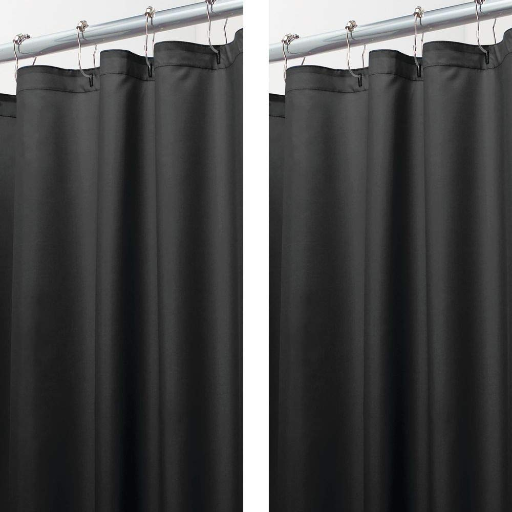 mDesign - 2 Pack - Extra Long Water Repellent, Mildew Resistant, Heavy Duty Flat Weave Fabric Shower Curtain, Liner - Weighted Bottom Hem for Bathroom Shower and Bathtub - 72'' x 96'' - Black