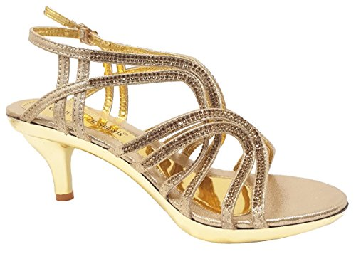 World of Shawls Women's Kitten Mid Heel Open Toe Strappy Back Zip Sandals Wedding Party Prom Crossover - Gold 0HXaX