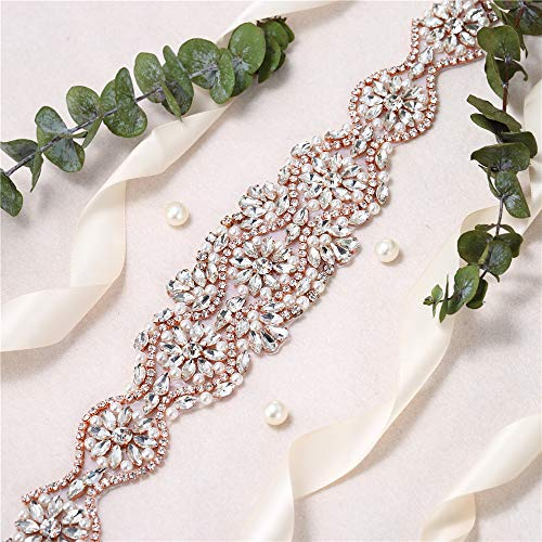 Crystal Rhinestone Appliques for Wedding Gown Bridal Belts Sashes Prom Evening (Rose Gold026.)