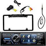JVC KD-AV41BT 3 Inch Display Car CD DVD USB Bluetooth Stereo Receiver Bundle Combo With Car License Plate Frame Rear View Colored Backup Parking Camera, Enrock 22 AM/FM Radio Antenna
