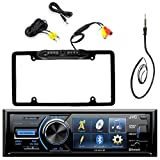 JVC KD-AV41BT 3'' Inch Display Car CD DVD USB Bluetooth Stereo Receiver Bundle Combo With Car License Plate Frame Rear View Colored Backup Parking Camera, Enrock 22'' AM/FM Radio Antenna