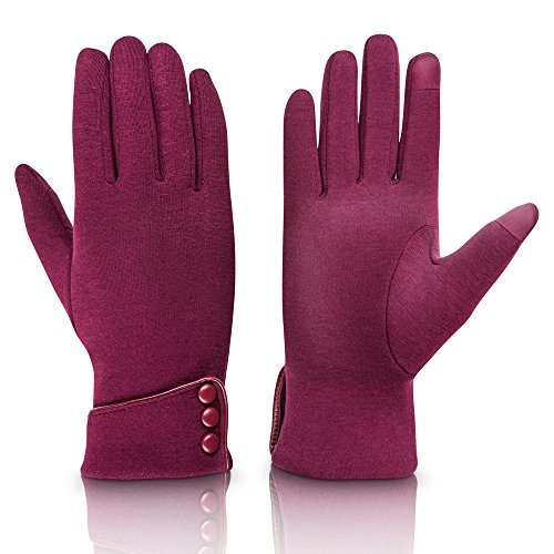 Fashion Touch Screen Winter Gloves Warm Polar Fleece Windproof in Cold Weather For Women Red
