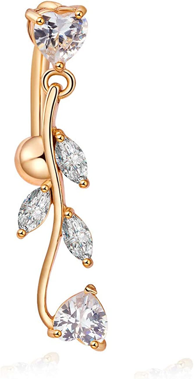 CRYSTAL FLOWER DANGLE DROP YELLOW GOLD PLATE SURGICAL STEEL NAVEL BELLY BAR RING