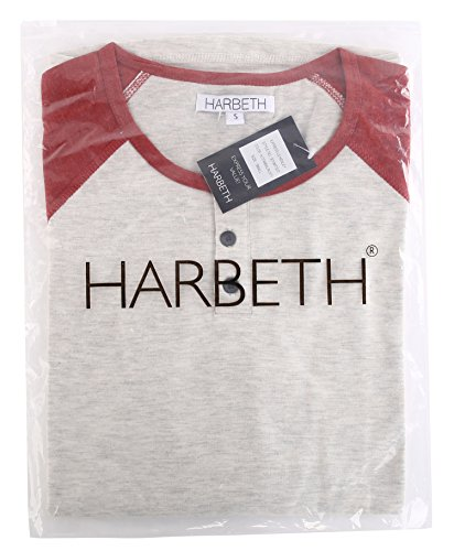 df247290 HARBETH Men's Casual Long Sleeve Henley Shirt Raglan Fit Baseball T-Shirts  Tee