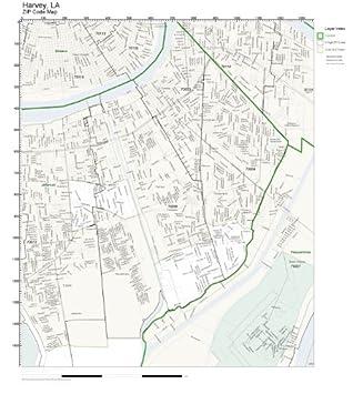 Harvey Louisiana Map.Amazon Com Zip Code Wall Map Of Harvey La Zip Code Map Laminated