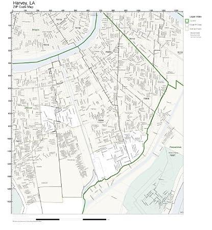 Harvey Louisiana Map.Amazon Com Zip Code Wall Map Of Harvey La Zip Code Map Not