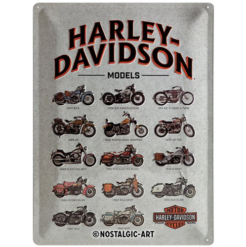 Nostalgic-Art 23233 de Harley Davidson Model Chart, Cartel de Chapa, 30 x 40 cm
