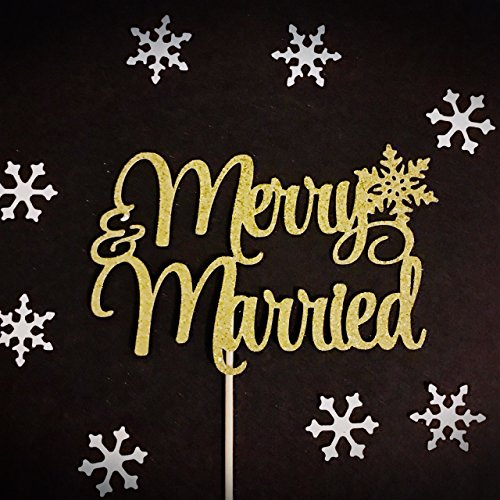 Merry and Married Cake Topper, Winter Wedding Cake Topper, Bridal Shower Cake Topper, Bachelorette Cake Topper, Engagement Cake Topper, Winter Wedding Decoration, Snowflake Cake Topper -