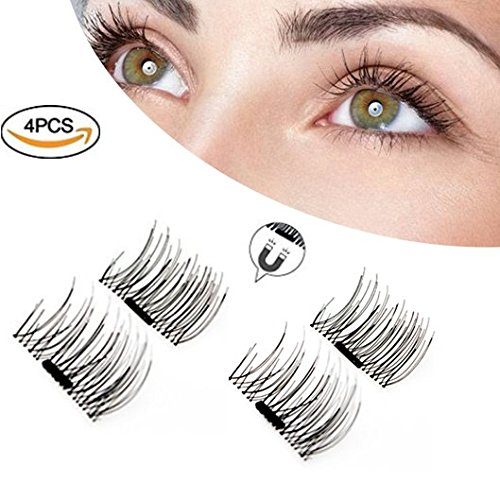3D Magnetic Eyelashes,Reusable,No Eyelash Glue Lash Enhancer,Ultra-thin Fiber for Natural (1 Pair,4 Pieces)