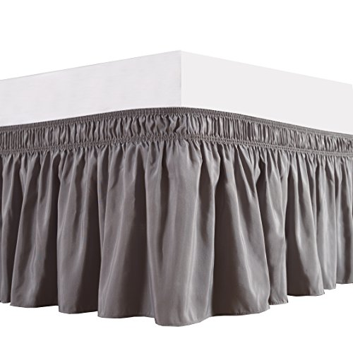 Biscaynebay Wrap Around Bed Skirt, Elastic Bed Ruffles, Easy Fit Wrinkle and Fade Resistant Solid Color Hotel Quality Fabric, Queen, 15