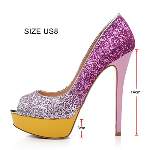 Shoes For Fashion Party Slip On glitzer Wedding Dress Extreme Women's Onlymaker Toe Handmade Peep High Stiletto rosa Pumps q8Z4t
