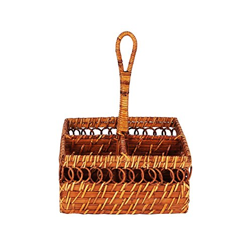 Wicker Cutlery Caddy - Lightweight and Portable Utensil Holder for Dinner Tables and Buffet (Square)