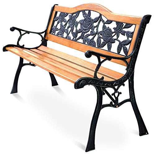 "HAPPYGRILL 50"" Patio Park Garden Bench, Outdoor Furniture Iron & Hardwood Frame Porch Loveseat"