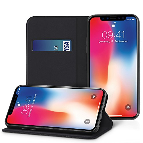 EasyAcc-Case-for-iPhone-XiPhone-Xs-Wallet-PU-Leather-Case-with-Card-Holder-and-Foldable-Cover-Protector-Flip-Cover-with-Kickstand-Compatible-with-iPhone-XiPhone-Xs–Black