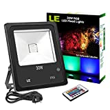 LE 30W RGB LED Flood Lights, Remote Control, Colour Changing Security Light, 16 Colours 4 Modes, Dimmable, Waterproof LED Floodlight, UK 3-Plug, Wall Washe