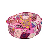 Home Furnishing Patch Work Foot stool Pink Ottoman Pouf Cover By Rajrang