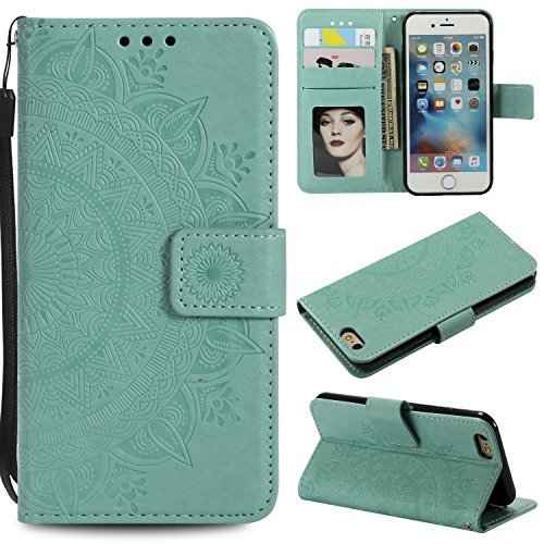 Floral Wallet Case for iPhone 6S 4.7'',Strap Flip Case for iPhone 6 4.7'',Leecase Embossed Totem Flower Design Pu Leather Bookstyle Stand Flip Case for iPhone 6S/6 4.7''-Green by Leecase