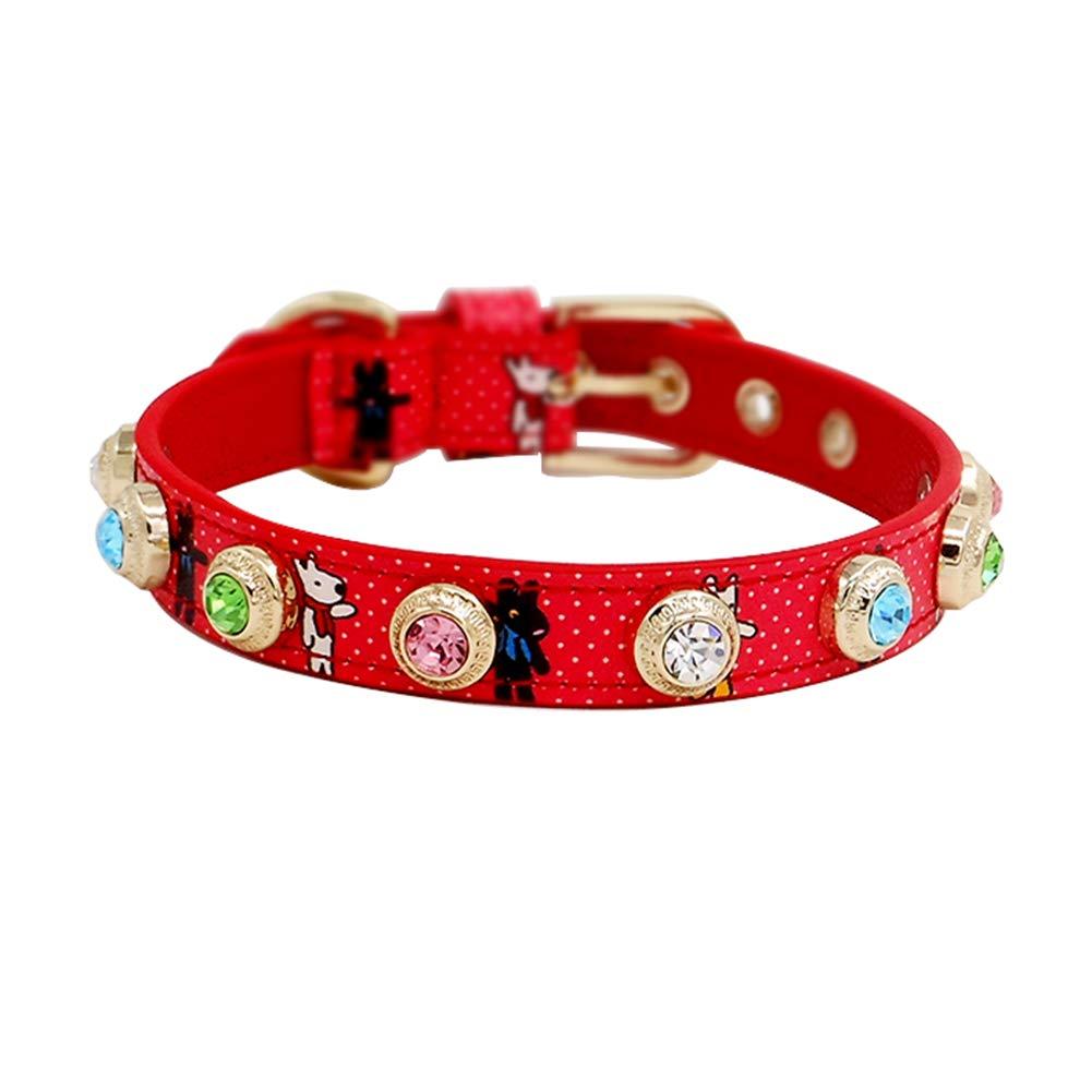 Small GWM Red Pet Collar,Genuine Leather Con Crystal Buckle Regolabile per Ragazze Cats, Puppy, Small Dogs (Dimensione: S)