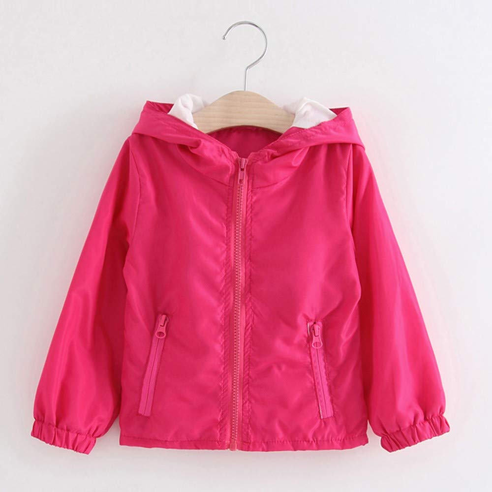 Baby Boys Girls Coats Children Autumn Jacket Outerwear Pure Color Windbreaker Clothes GoodLock Clearance!