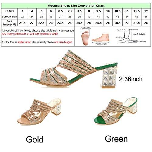 pantoufles hauts pantoufles Green Femmes strass Toe Lumino diapositives Open talons femmes TRWOBq4