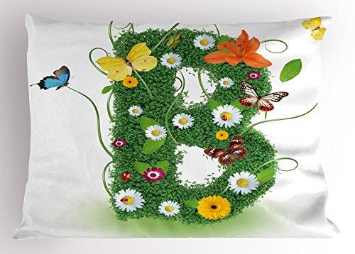 Ambesonne Letter B Pillow Sham, Uppercase B Sign with Flourishing Daisies Exotic Garden Plants Butterflies Fresh, Decorative Standard Queen Size Printed Pillowcase, 30 X 20 inches, (Butterfly Garden Standard Sham)