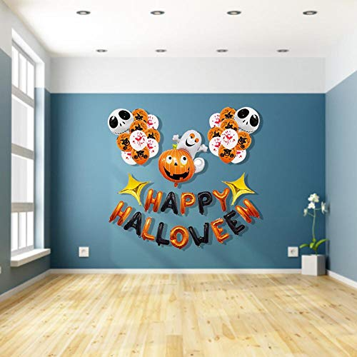 Assiduousic Happy Halloween Day Party Balloons Scary Pumpkin Design Latex Balloons for Halloween Decorations Party Supplies Frightening Decorations -