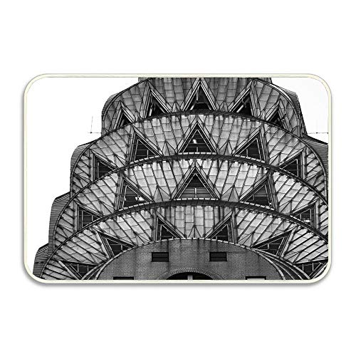 Puyrtdfs Chrysler Building Art Deco Hello Front Welcome Entrance Door Mats for Indoor Outdoor Entry Garage Patio High Traffic Areas Shoe Rugs16X24
