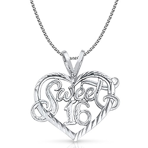 Ioka Jewelry - 14K White Gold Sweet 16 Years Heart Charm Pendant with 1.3mm Flat Open Wheat Chain Necklace - 16