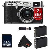 Fujifilm X100F 24.3 MP APS-C Digital Camera (International Version) (Silver 128GB Bundle)