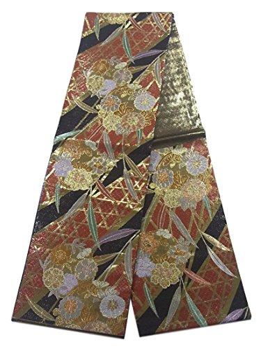 周辺注釈絶えずリサイクル 袋帯 古典 花の丸文様 正絹 六通