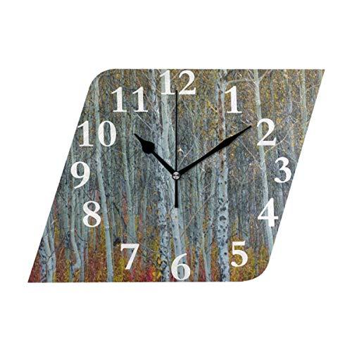 NMCEO Rhombus Wall Clock Autumn Birch Tree Forest Acrylic Original Clock for Home Decor ()