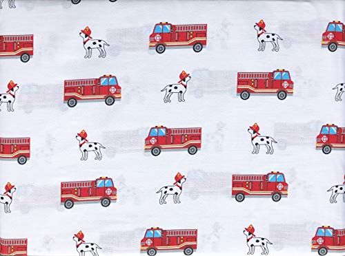 Authentic Kids 3pc Sheet Set Red Fire Trucks with Ladders on White with Blue Windows Dalmatian Dogs Cotton Sateen (Twin)