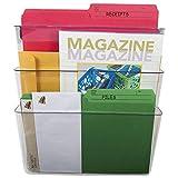Storex 70245U06C Wall File, Letter, 13 x 14, Three Pocket, Clear