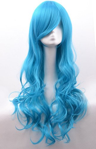 - Besgo 31 Inches Heat Resistant Long Airy Curl Costume Cosplay Wig Long Hair Wig for All Ladies with Wig Cap,multi Colors (Light Blue)