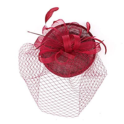 Fascinators hat for Women Kentucky Derby Wedding Cocktail Flower Mesh Feathers Headband and Clips